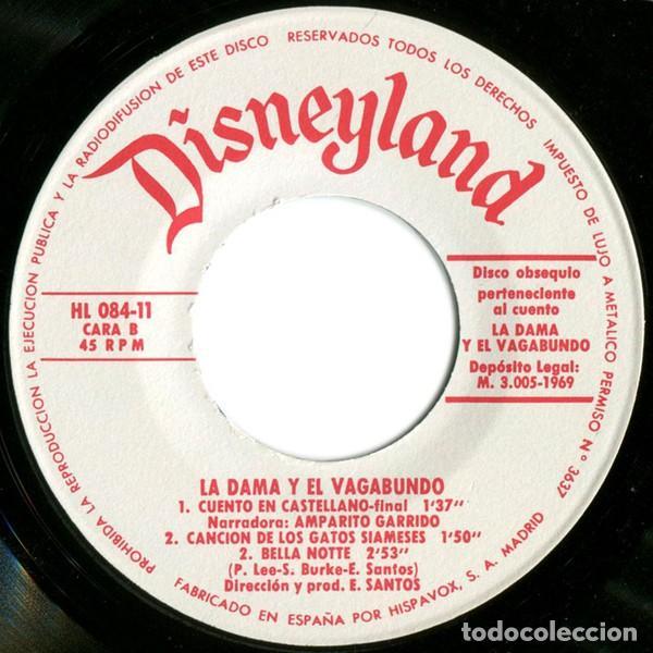 Discos de vinilo: WALT DISNEY - LA DAMA Y EL VAGABUNDO (ep disneyland - BRUGUERA 1969 (solo disco) - Foto 2 - 131480690