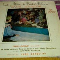 Discos de vinilo: CANTO Y MUSICA DE NAVIDAD. VILLANCICOS. CARLOS MUNGUIA (TENOR SOLISTA).DTOR: JUAN GOROSTIDI ORFEON D. Lote 131490770