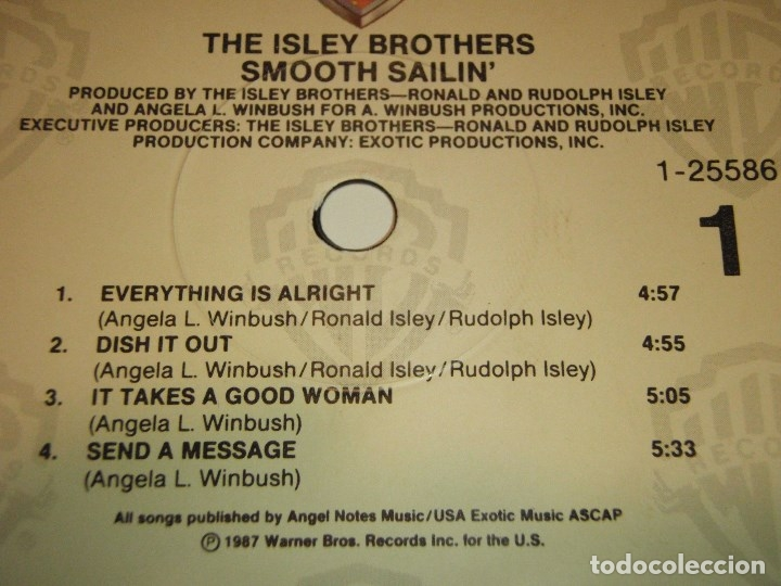 Discos de vinilo: THE ISLEY BROTHERS ' SMOOTH SAILIN' ' NEW YORK - USA 1987 LP33 WARNER BROS RECORDS - Foto 4 - 30823351