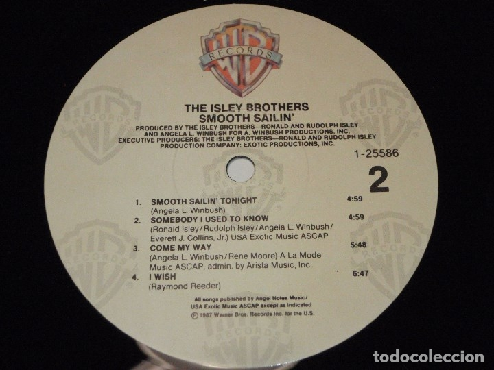 Discos de vinilo: THE ISLEY BROTHERS ' SMOOTH SAILIN' ' NEW YORK - USA 1987 LP33 WARNER BROS RECORDS - Foto 6 - 30823351