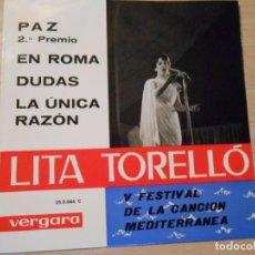 Discos de vinilo: LITA TORELLO, EP, PAZ + 3, AÑO 1963. Lote 131588258