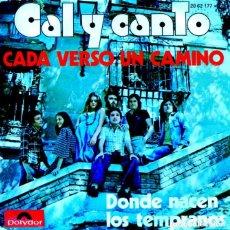 Disques de vinyle: CAL Y CANTO / CADA VERSO UN CAMINO / DONDE NACEN LOS TEMPRANOS ( SINGLE 1975). Lote 131619842