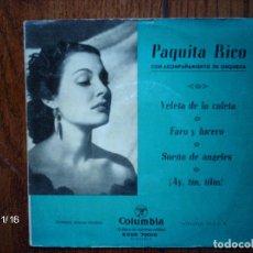 Discos de vinilo: PAQUITA RICO - VELETA DE LA CALETA + FARO Y LUCERO + SUEÑO DE ANGELES + ¡AY, TINTILIN! . Lote 131701902