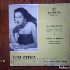 Discos de vinilo: LUISA ORTEGA - CON MIS PROPIOS OJOS + CAMPANITAS DEL ALBA + MANOLITO CLAVE + TORRES DE ESPAÑA . Lote 131705574