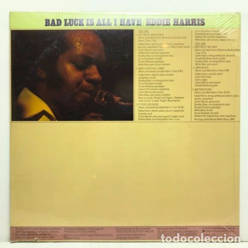 Discos de vinilo: EDDIE HARRIS / bad luck is all i have 75 !! willie bobo, GROOVE FUNK SOUL.. !! ORIG. EDIT. USA !! ex - Foto 3 - 131869354