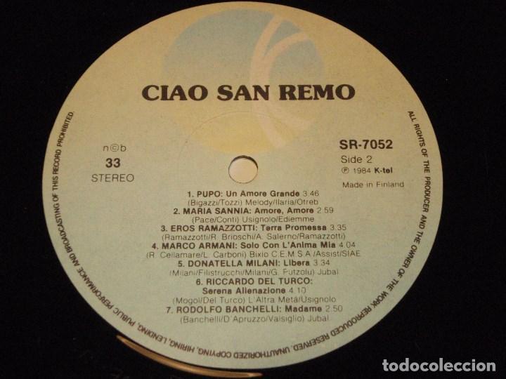 Discos de vinilo: CIAO SAN REMO ( ORIGINAL HITS - VARIOS INTERPRETES ) 1984 - FINLANDIA LP33 K-TEL - Foto 5 - 131945894