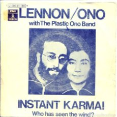 Disques de vinyle: LENNON / ONO WITH THE PLASTIC ONO BAND / INSTANT KARMA! / WHO HAS SEEN THE WIND? (SINGLE PROMO 1970). Lote 132094258
