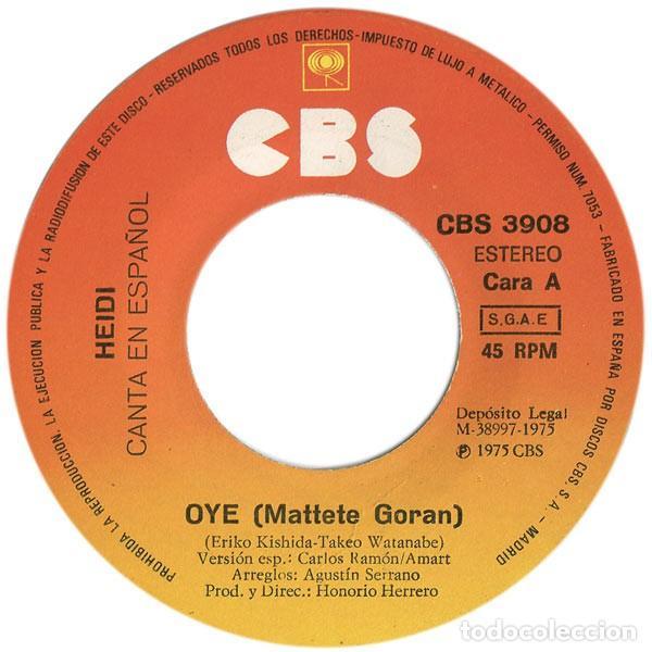 Discos de vinilo: Heidi – Canta En Español: Oye / Dime Abuelito (España, 1975) - Foto 3 - 132184178
