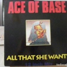 Discos de vinilo: MAXI SINGLE DE ACE OF BASE , ALL THAT SHE WANTS (3 VERSIONES) + 1, EDICIÓN ALEMANA DE 1992, MUY BIEN. Lote 132194830