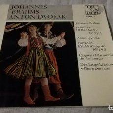 Discos de vinilo: JOHANNES BRAHNS ANTON DVORAK-DANZAS HUNGARAS ESLAVAS-FILARMONICA HAMBURGO/ PI22. Lote 132331058