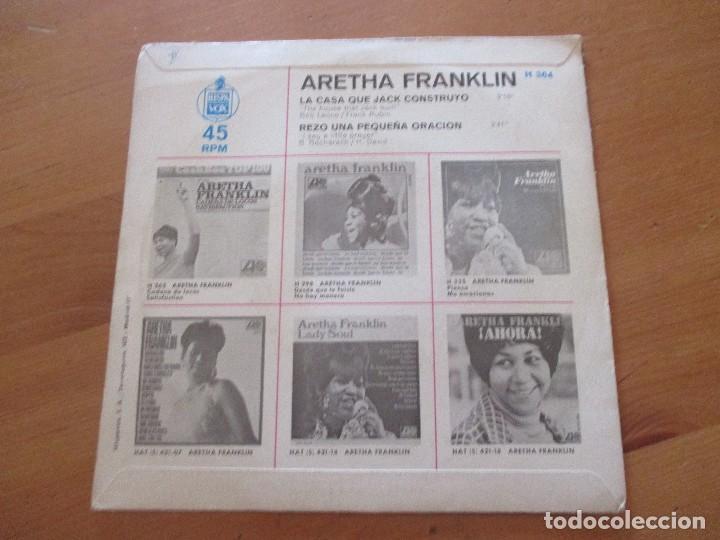 Discos de vinilo: Aretha Franklin La casa que Jack costruyó/ Rezo una pequeña oración ATLANTIC HISPAVOX 1968 - Foto 2 - 132340302