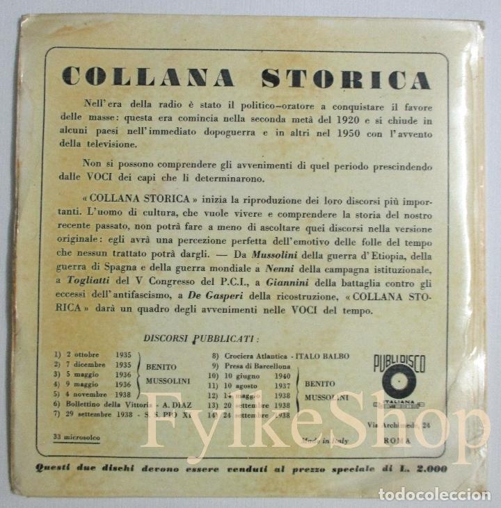 Discos de vinilo: MUSSOLINI. DISCORSO 18 NOVIEMBRE 1940. DISCO DOBLE. SINGLE. - Foto 3 - 132365162