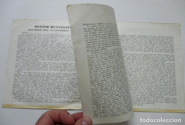 Discos de vinilo: MUSSOLINI. DISCORSO 18 NOVIEMBRE 1940. DISCO DOBLE. SINGLE. - Foto 4 - 132365162