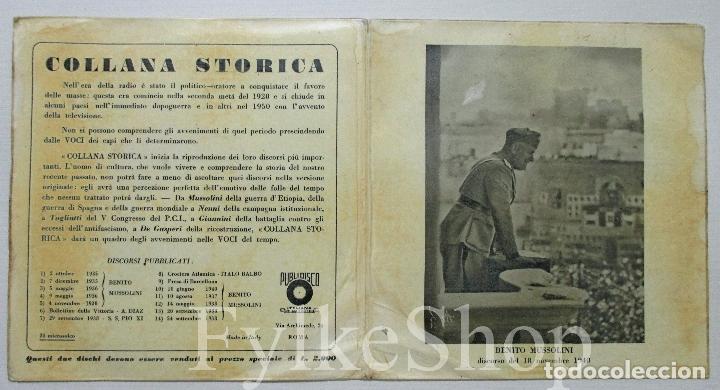 Discos de vinilo: MUSSOLINI. DISCORSO 18 NOVIEMBRE 1940. DISCO DOBLE. SINGLE. - Foto 5 - 132365162