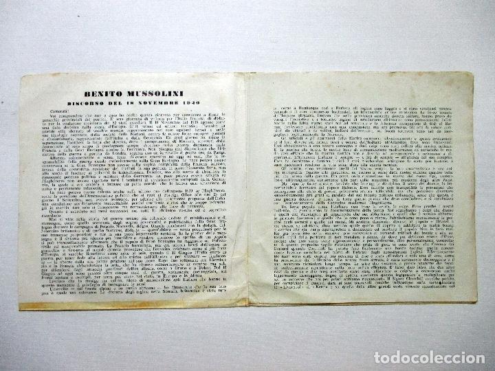 Discos de vinilo: MUSSOLINI. DISCORSO 18 NOVIEMBRE 1940. DISCO DOBLE. SINGLE. - Foto 6 - 132365162