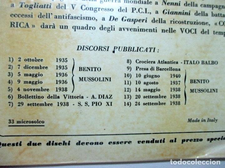 Discos de vinilo: MUSSOLINI. DISCORSO 18 NOVIEMBRE 1940. DISCO DOBLE. SINGLE. - Foto 7 - 132365162