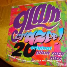 Discos de vinilo: GLAM CRAZEE ¡¡ 20 ORIGINAL GLAM ROCK HITS. T-REX, SLADE.... VIRGIN, 1990. EDIC. INGLESA. IMPECABLE(#. Lote 132505606