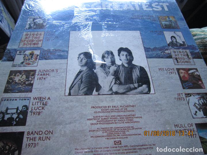 Discos de vinilo: WINGS - GREATEST LP - ORIGINAL CANADA. LP - CAPITOL 1978 CON FUNDA INTERIOR Y POSTER GIGANTE - - Foto 10 - 132667374