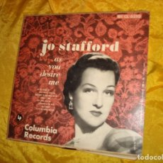 Discos de vinilo: JO STAFFORD. AS YOU DESIRE ME. COLUMBIA, 1954. EDC. U.S.A. 10 PULGADAS . Lote 132674522