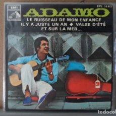 Discos de vinilo: ** ADAMO - LE RUISSEAU DE MON ENFANCE + 3 - EP AÑO 1968 - PROMOCION. Lote 132716794