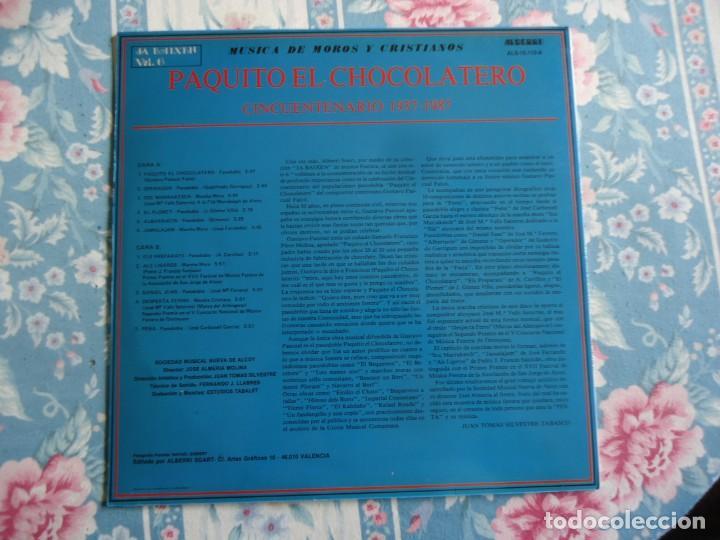 Discos de vinilo: disco de vinilo paquito el chocolatero cincuentenario 1937-1987 musica de moros y cristianos,Alcoy - Foto 2 - 132788994