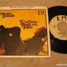 Discos de vinilo: GATO BARBIERI SINGLE 45 RPM EL ÚLTIMO TANGO EN PARÍS MARLON BRANDO UA ESPAÑA 1973 . Lote 132804682