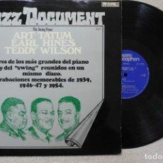Discos de vinilo: ART TATUM EARL HINES TEDDY WILSON LP VINYL MADE IN SPAIN 1974. Lote 132828306