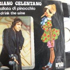 Discos de vinilo: ADRIANO CELENTANO -LA BATALLA DI PINOCCHIO -SINGLE 1972. Lote 133161946