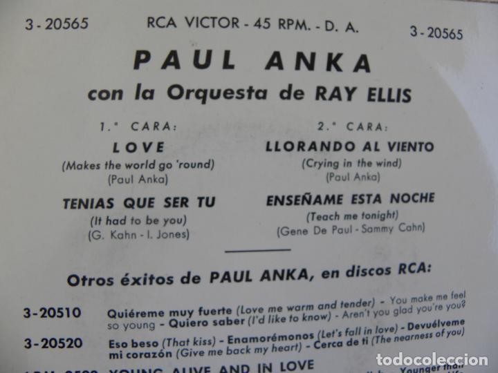 Discos de vinilo: PAUL ANKA -LOVE -EP 1963 - Foto 2 - 133244826