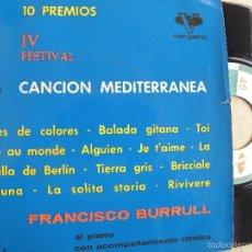 Discos de vinilo: FRANCISCO BURRULL AL PIANO -SINGLE 1962 . Lote 133245538