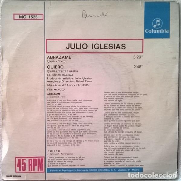 Discos de vinilo: Julio Iglesias – Abrázame / Quiero (España, 1975) - Foto 2 - 133356646
