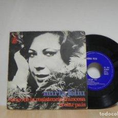 Discos de vinilo: NURIA FELIU~CANCO DE LA RESISTENCIA FRANCESA / EL CLAR PAIS~45 HISPAVOX 1973 . Lote 133461318