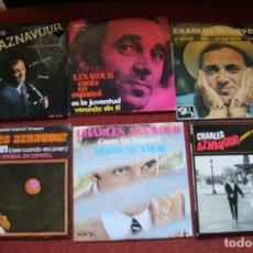 Discos de vinilo: LOTE 6 EP'S Y SINGLES CHARLES AZNAVOUR. Lote 133465662