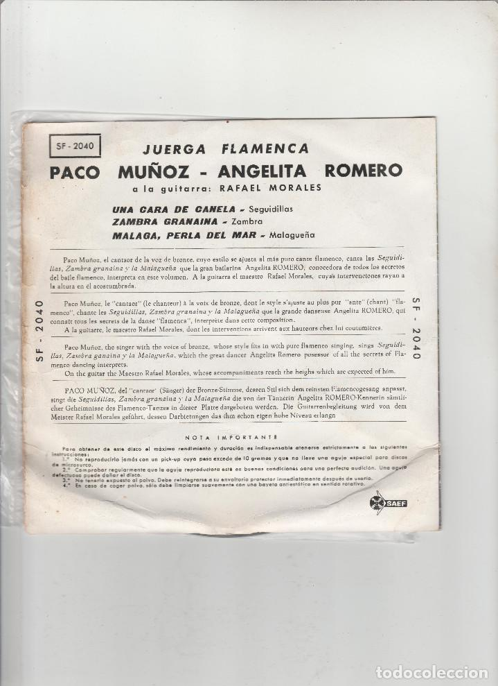 Discos de vinilo: PACO MUÑOZ-ANGELITA ROMERO-JUERGA FLAMENCA - Foto 2 - 133488482
