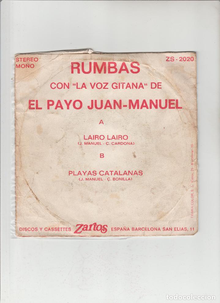 Discos de vinilo: JUAN MANUEL-RUMBAS EL PAYO-LAIRO LAIRO-PLAYAS CATALANAS - Foto 2 - 133488610