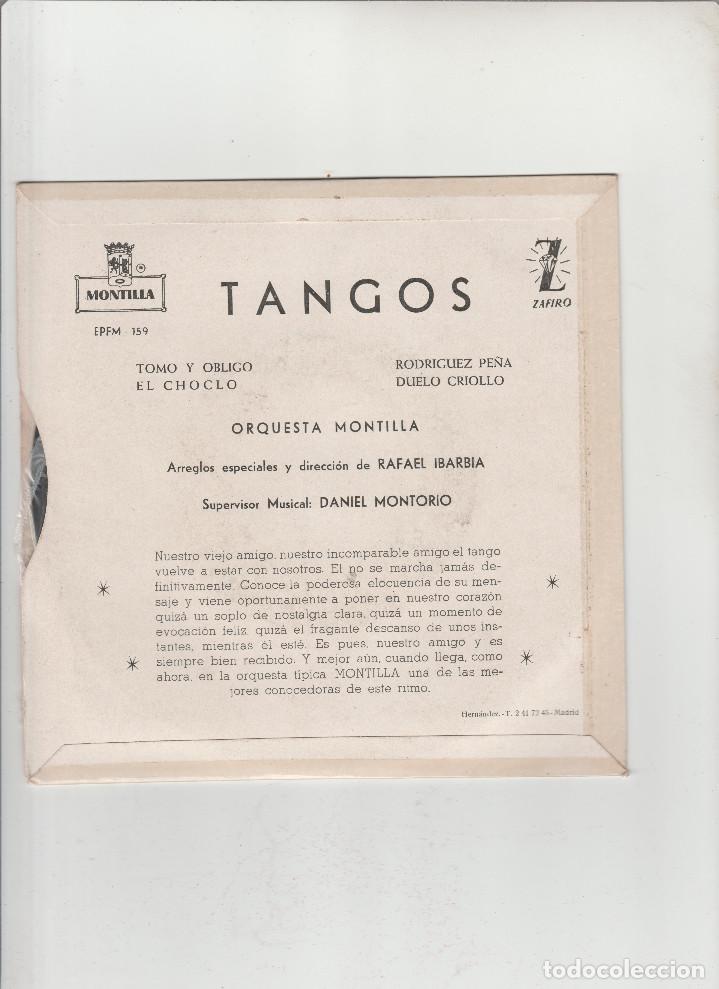 Discos de vinilo: TANGOS- TOMO Y OBLIGO-EL CHOCLO-RODRIGUEZ PEÑA-DUELO CRIOLLO - Foto 2 - 133489246