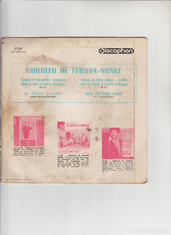 Discos de vinilo: EL CANTE FLAMENCO DE GORDITO DE FERNAN-NUÑEZ - Foto 2 - 133489654