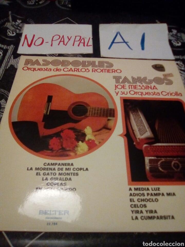 PASODOBLES ORQUESTA CARLOS ROMERO TANGOS ORQUESTA CRIOLLA BELTER (Música - Discos - LP Vinilo - Flamenco, Canción española y Cuplé)