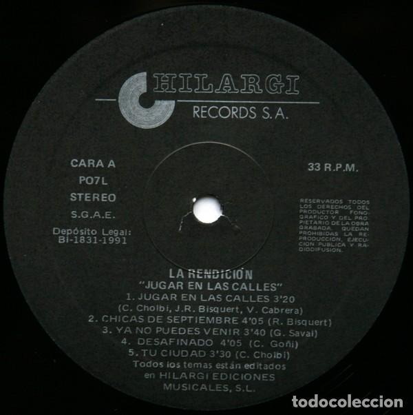 Discos de vinilo: La Rendición – Jugar En Las Calles (España, 1991) - Foto 3 - 133502326