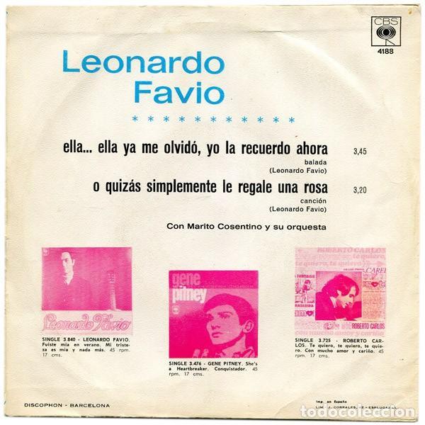 Discos de vinilo: Leonardo Favio – Ella... Ella Ya Me Olvidó, Yo La Recuerdo Ahora (España, 1968) - Foto 2 - 133590694