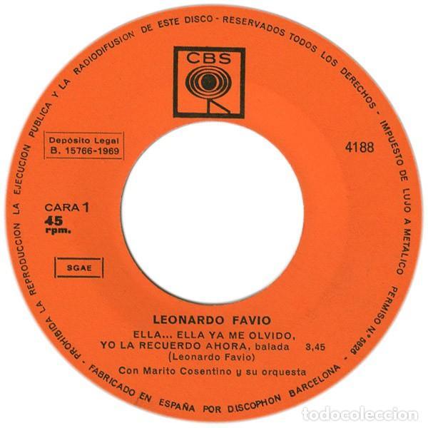 Discos de vinilo: Leonardo Favio – Ella... Ella Ya Me Olvidó, Yo La Recuerdo Ahora (España, 1968) - Foto 3 - 133590694