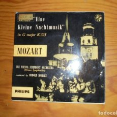 Discos de vinilo: MOZART. EINE KLEINE NACHTMUSIK. EP. VIENNA SYMPHONY. PHILPIS, 1956. EDIC. INGLESA. IMPECABLE. Lote 133616666