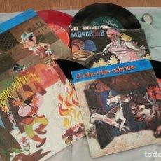 Discos de vinilo: DISCOS SINGLES DE CUENTOS INFANTILES. COLECCIÓN DE 4 DISCOS. AÑOS 60-70. Lote 133622842