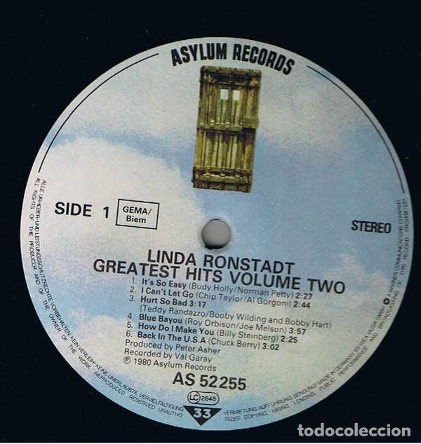 Discos de vinilo: Linda Ronstadt – Greatest Hits Volume Two (España, 1980) - Foto 3 - 133669318