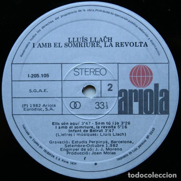 Discos de vinilo: Lluís Llach – I Amb El Somriure, La Revolta (eSPAÑA, 1982) - Foto 4 - 133672602