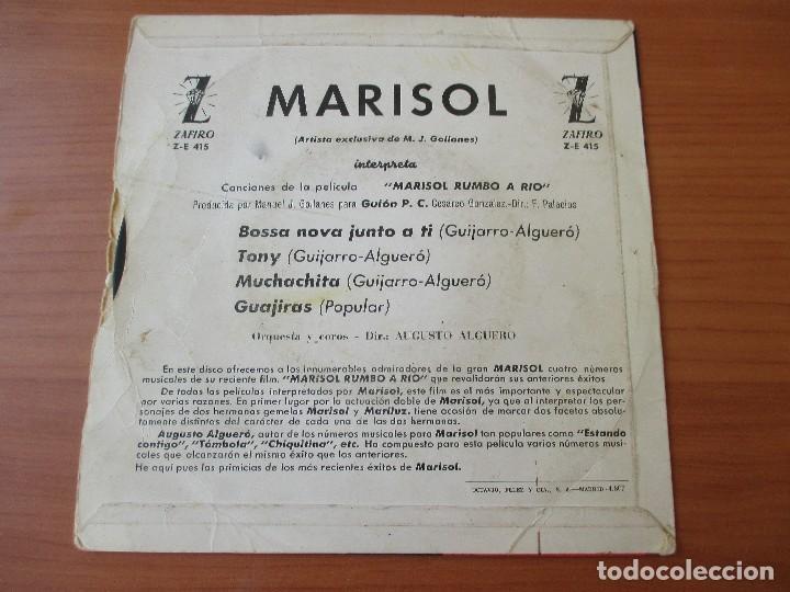 Discos de vinilo: MARISOL BOSSA NOVA JUNTO A TI +3 MARISOL RUMBO A RIO ZAFIRO 1963 - Foto 2 - 133770018