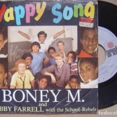 Discos de vinilo: BONEY M AND BOBBY FARRELL - HAPPY SOUND + SCHOOL´S OUT - SINGLE 1984 - ARIOLA. Lote 133827838