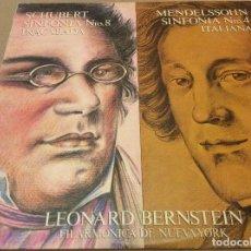 Discos de vinilo: SCHUBERT / MENDELSSOHN. DIRECC. LEONARD BERNSTEIN. CBS 1981.. Lote 133868322