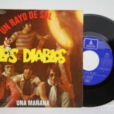 Discos de vinilo: DISCO EP DE VINILO - LOS DIABLOS, UN RAYO DE SOL, UNA MAÑANA - EMI, ODEON - AÑO 1970. Lote 133897011