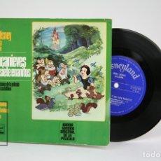 Discos de vinilo: DISCO EP DE VINILO - BLANCA NIEVES Y LOS SIETE ENANITOS / CANCIONES Y LIBRO - WALT DISNEY, 1967. Lote 133897303